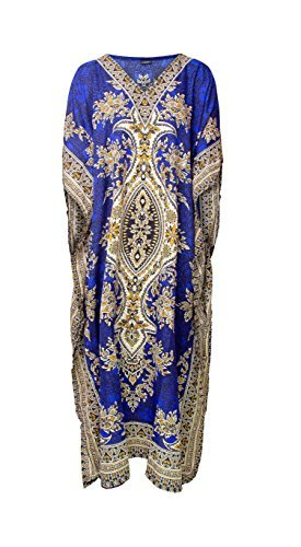 RK Essentials | Tribal Ethnic Print Long Kaftan | Plus Size (Royal (Blue Kaftan)