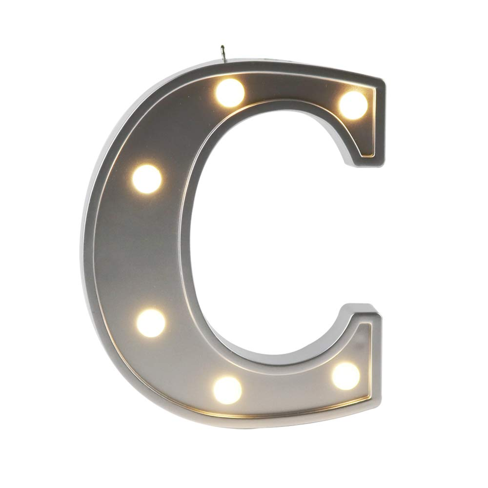 JUHUI M5-94DJ-JVB1 DELICORE 4.21 Small Size Silver Color Letter Sign C Light Up Mini Marquee Alphabet Wall Letters for Bay Room Home Decor