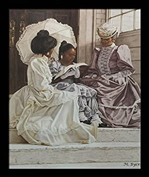 Three Generations Ladies with Black Girl – M.Byers 20×24 Black Framed – African American Black Art Print Wall Decor Poster 10E8