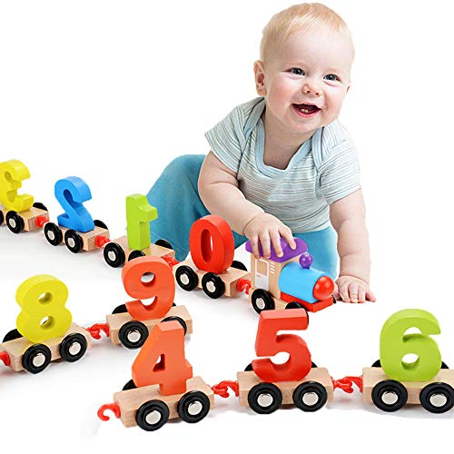 SUNEN Wooden Pull Toy Number Train Set Educational Toys- Classic Developmental Toy for 2 & 3 Year Old Boys & Girls from SUNEN