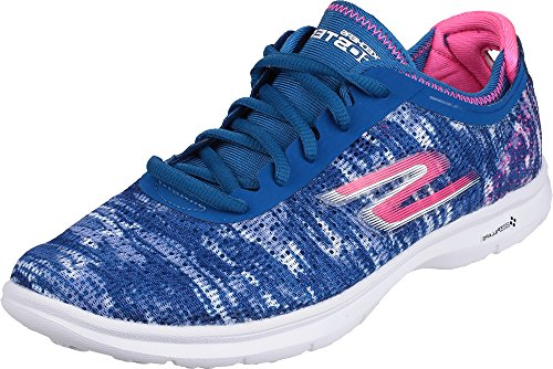 Skechers Go Step Shoes Ladies Lace up Rubber Sole Running Trainers Footwear Blue/Pink CshS5Eg