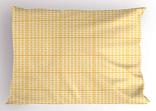 Gingham Standard Sham - lsrIYzy Vintage Yellow Pillow Sham, Gingham Pattern with Bicolor Checkered Squares with Heart Motifs, Decorative Standard Queen Size Printed Pillowcase, 30 X 20 inches, Mustard and White