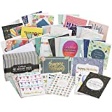Cortesia Box Set of 40 Assorted Birthday Cards - UNIQUE DESIGNS and GOLD EMBELLISHMENTS, Premium Bday Boxed Assortment Pack with Envelopes