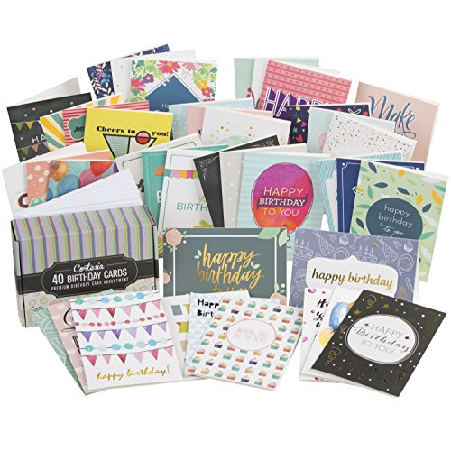 Cortesia Box Set of 40 Assorted Birthday Cards – UNIQUE DESIGNS and GOLD EMBELLISHMENTS, Premium Bday Boxed Assortment Pack with Envelopes