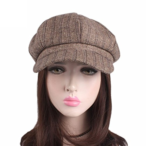 Winter warm Caps, Ikevan Women Grils Fashion Hats Winter warm Caps, Popular accessories Knitting Hat Berets Faux fur warm hat Embroidery Hat Yoga Head Warp (B, Khaki)