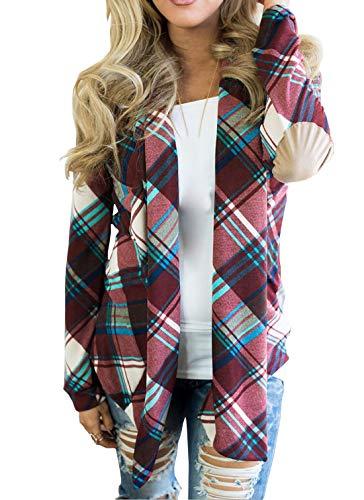 Manica Moda Primavera Viola A Donna Quotidiani Outerwear Cardigan Lunga Autunno Cappotti Cime Bluse E Tops Quadri Giacca Camicie Casual qXOUwxpO