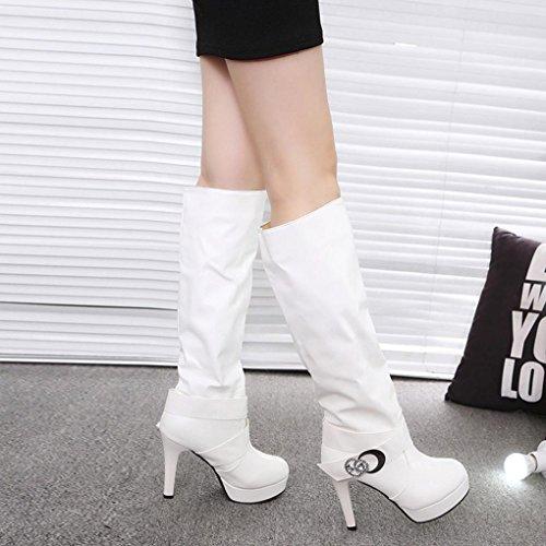 Femme Pu Boucle Chaussures Strass Blanc Talons Mode Cuir Motard Bottines Esailq À Pierres Décoration Hauts De Hautes Bottes fdwqfgB