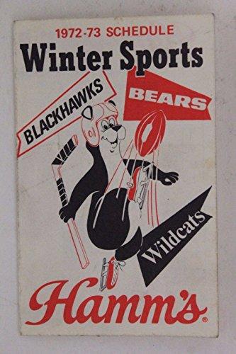 1972-73 Winter Tri Schedule Chicago Bears Black Hawks Northwestern Wildcats 17E