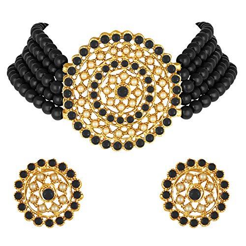 Peora Gold Plated Pearl Diamond Kundan Choker Necklace