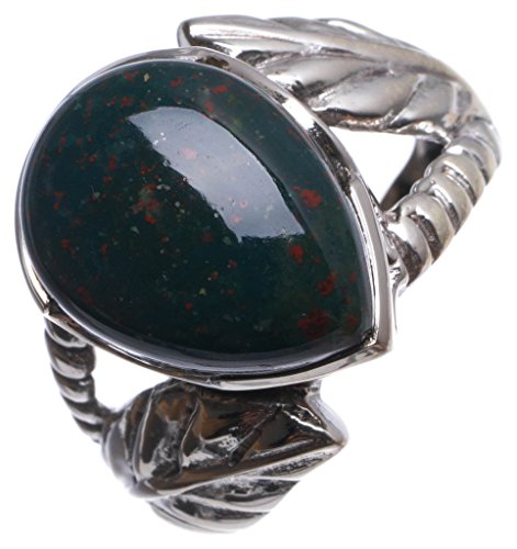 StarGems(tm) Natural Blood Stone Handmade Vintage 925 Sterling Silver Ring, US size 7