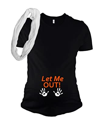 bedece29b PandoraTees Funny Halloween Maternity T Shirt - Let Me Out at Amazon  Women's Clothing store:
