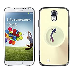 FECELL CITY // Duro Aluminio Pegatina PC Caso decorativo Funda Carcasa de Protección para Samsung Galaxy S4 I9500 // Fish Swimming Jail White Freedom Locked
