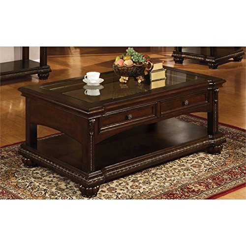 Acme Furniture 10322 Anondale Coffee Table with 2 Storage Drawers Clear Glass Insert Top Tray Edge Reeded Bun Footing Antiqued Hardware Solid Hardwood and Veneers in Cherry
