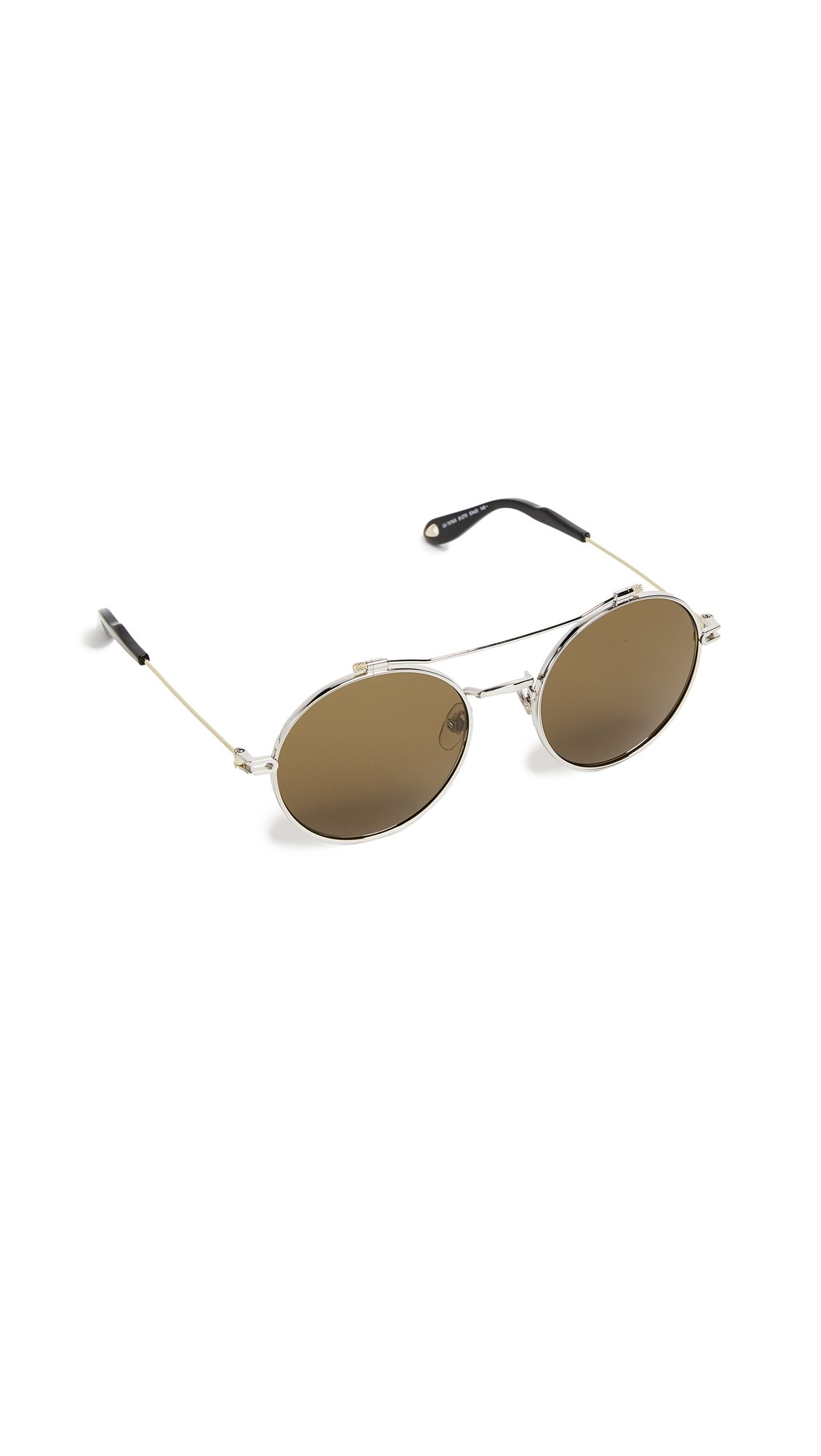Givenchy Women's Round Browbar Sunglasses, Silver Gold/Brown, One Size by Givenchy