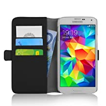 Galaxy S5 Case - Luxury Edition Leather Wallet Flip Cover for Samsung Galaxy S5 / S5 Neo, Black