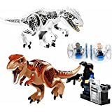 Fantoy インドミナス ティラノサウルス 恐竜 フィギュア 大型 2体 乗り物 ミニフィグ2体 SWAT ミニフィグ1体 5体セット