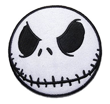 Jack Skellington 3 Inch Wide Nightmare Before Christmas Iron On Patch]()