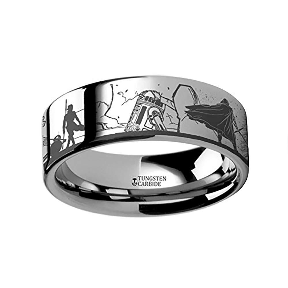 Lightweight Titanium Force Awakens Scene Jakku Luke Skywalker Rey Kylo Ren Scene Tungsten Engraved Ring 4mm 6mm 8mm 10mm 12mm Comfort Fit Thorsten Rings Star Wars| Titanium Rings for Men