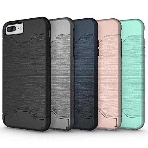 """Apple iPhone 7 Plus 5.5 pouces 2016 - Coque aluminium noire Protection """"Brushed Case"""" avec compartiment cartes - Accessoires pochette XEPTIO case"""