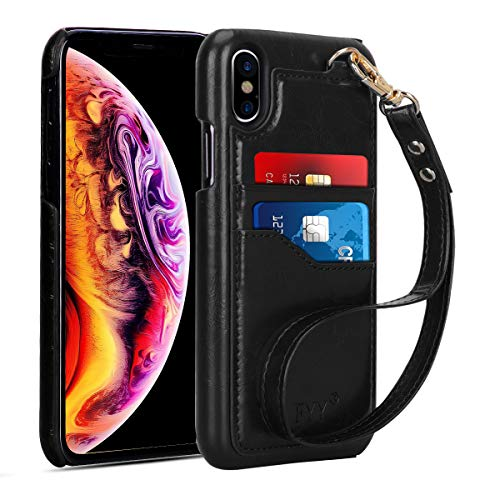 FYY Case for iPhone Xs Max (6.5″) 2018,Slim, Elegant PU Leather Case Design with Card Slots and Detachable Hand Strap for iPhone Xs Max (6.5″) 2018 Black For Sale