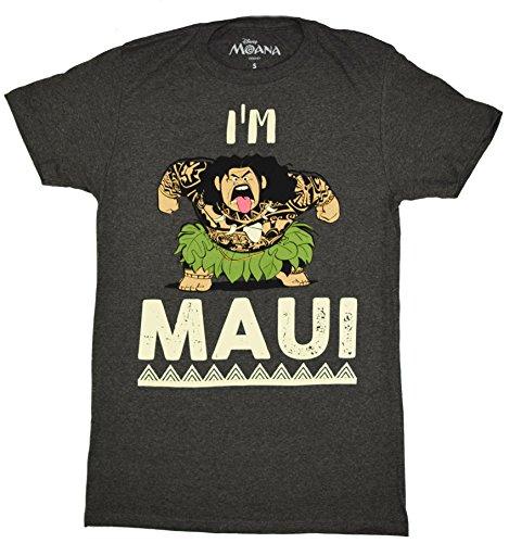 Disney Moana I'm Maui T-shirt (Medium, Heather Charcoal) (Disney Clothing For Adults)