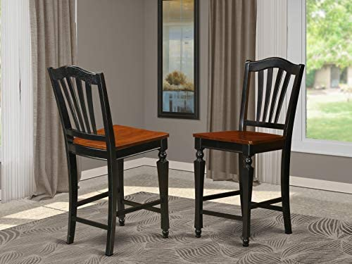 East-West Furniture CHS-BLK-W Chelsea Stools modern counter height chairs- Wooden Seat and Black Hardwood Structure bar stools set of 2