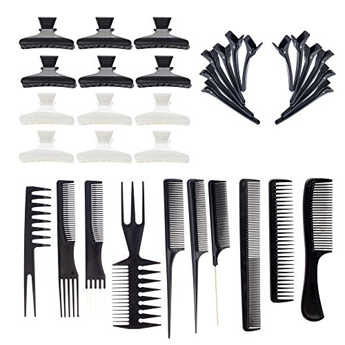 Hairdressers Set with 10 Hair Styling Combs, 12 Black Clasps and 12 Black and