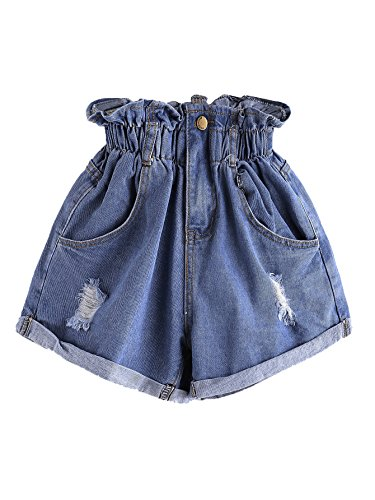 Milumia Women's Casual High Waisted Hemming Denim Jean Shorts with Pockets Blue-4 Medium
