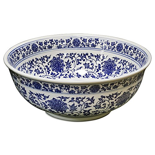 ChinaFurnitureOnline Porcelain Basin Bowl with Blue and White Chinoiserie Design -