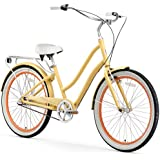 "sixthreezero EVRYjourney Women's 3-Speed Step-Through Hybrid Cruiser Bicycle, Cream w/White Seat/Grips, 26"" Wheels/ 17.5"" Frame"