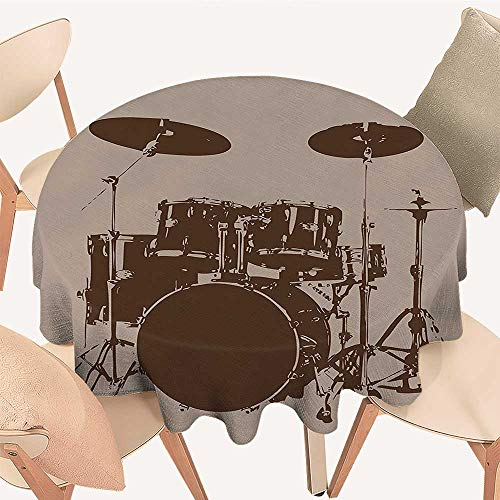 Bass Heavyweight Drum - Dragonhome Premium Round Tablecloth Drum Kit for Bass Rythm Lovers Ba Dum TSS Image Sketchy Art Everyday Use, 35 INCH Round