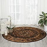 Cheap Nourison Delano DEL07 Traditional Oriental Persian Espresso (Brown) Area Rug,  5'3″ x 5'3″ Round