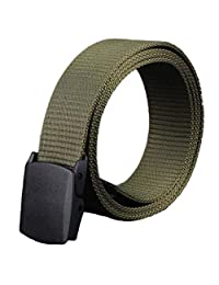 Changeshopping Men Canvas Belt Hypoallergenic Metal free Plastic Automatic Buckle