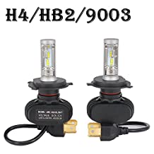 H4 HB2 9003 LED Headlight Bulb 8000LM 6000K - 6500K Cool White All-in-One Conversion Kit LED Driving Fog Light for Replace Halogen Bulbs Headlights ,1Yr Warranty
