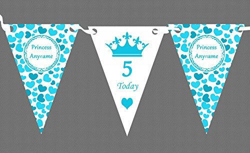 Aqua Blue Love Hearts Princess Personalised Children's Birthday Party -