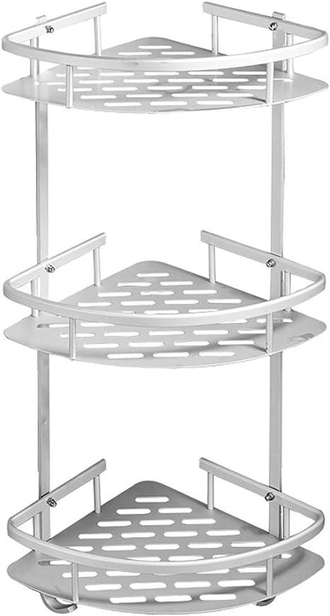 Yedlove - Estante de esquina para ducha de 3 niveles, sin perforación, esquina, estante de tres niveles, esquinero de acero inoxidable, organizador de ...