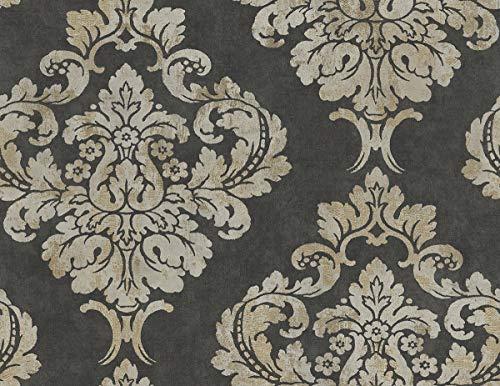 (Decor Direct WQGR60200 Wallpaper Charcoal Black and Golds)