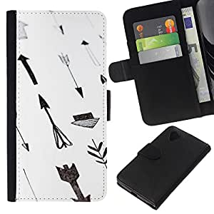 All Phone Most Case / Oferta Especial Cáscara Funda de cuero Monedero Cubierta de proteccion Caso / Wallet Case for LG Nexus 5 D820 D821 // Paper Hand White Gray Deep