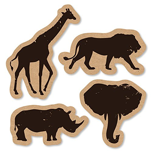 Big Dot of Happiness Wild Safari - DIY Shaped African Jungle Adventure Birthday Party or Baby Shower Cut-Outs - 24 Count ()