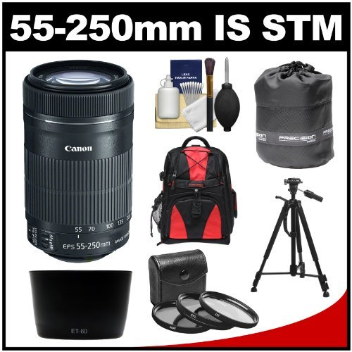 Canon EF-S 55-250mm f/4.0-5.6 is STM Zoom Lens with 3 UV/CPL/ND8 Filters + Hood + Backpack + Tripod + Kit for EOS 70D, Rebel T3, T3i, T4i, T5, T5i, SL1 DSLR Cameras (Canon Zoom Lens Ef S 17 85mm)