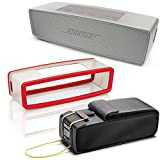 Bose SoundLink Mini II Bluetooth Wireless Speaker - Pearl w/ Red Soft Silicon Cover & Travel Bag - Bundle