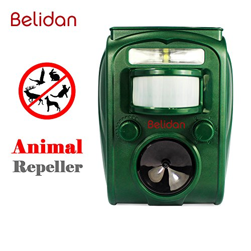 Animal Repellent Ultrasonic Outdoor - Belidan Animal Repeller - Dog Cat Raccoon Repellent Skunk Repellent Mice Rats Squirrel Repellent - Animal Deterrent Device Solar Powered - Motion Sensor and LED