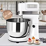 Costway 250W Stand Mixer, Tilt-Head Electric Mixer machine with Splash Guard, 5-Speed Setting Power Egg Beater Kitchen Mixer with Dough Hooks and Mixer Beaters(White)