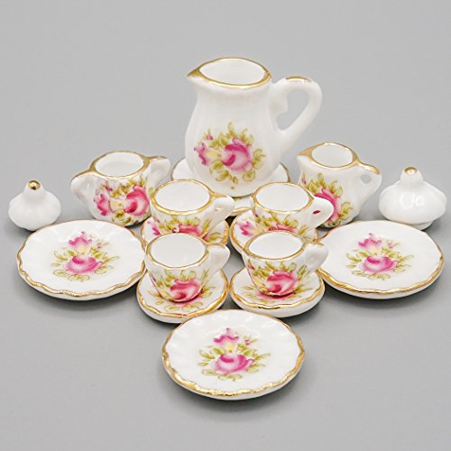 Dollhouse Tea - Odoria 1:12 Miniature 15PCS Porcelain Tea Cup Set Pink Rose Chintz with Gold Trim Dollhouse Kitchen Accessories