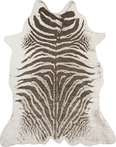 Erin Gates by Momeni Acadia Zebra Grey Faux Hide Area Rug 5
