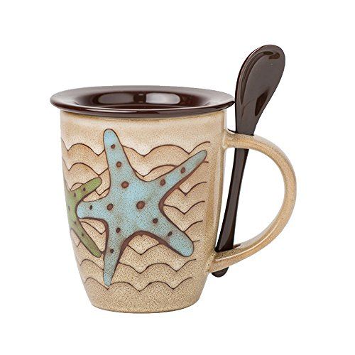 Verdental Novelty Sea Fun Mugs Ceramic Coffee Mug with Lid and Spoon Tea Cup Mug Gift Box (Starfish, Brown)