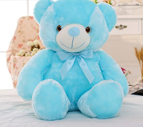 Dark Blue Bear (50cm Creative Light Up LED Teddy Bear Stuffed Animals Plush Toy Colorful Glowing Teddy Bear Christmas Gift for Kids (Blue))