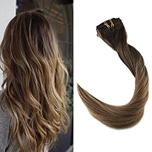 Full Shine 24inch Color #2 Fading to #8 and Highlighted Color #8 Balayage Extensions Clip in Highlighted Hair Extensions Double Wefted Clip in Extensions 9Pcs 120gram Per Set