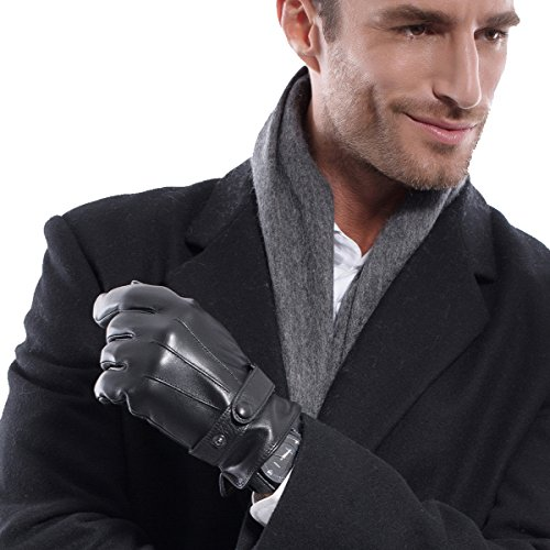Black Italian Leather Long Gloves (Matsu Men Touch Screen Italian Nappa Leather winter super warm Gloves KU013 (XL, Black Long Fleece or Cashmere lining))