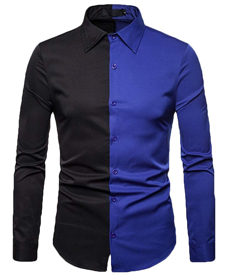 Generic Mens Button Down Long Sleeve Slim Fit Color Block Shirt Casual Top